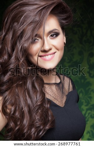 Beautiful hair, portrait of an young girl with beautiful make-ep - stock photo