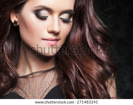 Beautiful hair, portrait of an young girl with beautiful make-up