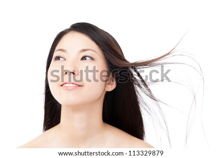 Beautiful hair woman on white background. Portrait of asian. - stock photo
