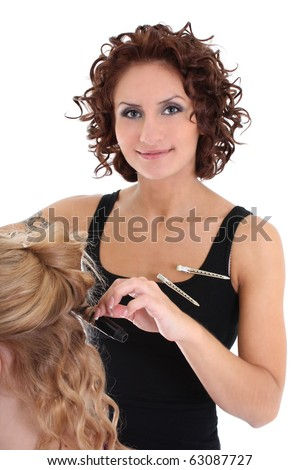 beautiful hairdresser with client isolated over white