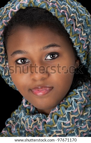 Beautiful Haitian African American woman.  Close up headshot. - stock photo
