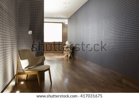 beautiful hall with wooden flooring - stock photo