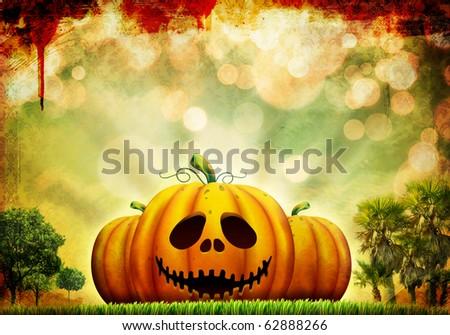 Beautiful Halloween pumpkin illustration on surreal, abstract background - stock photo