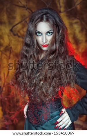 Beautiful halloween witch  - stock photo