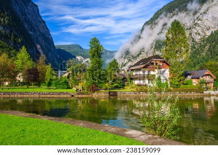 Beautiful Hallstatt lake and mountains, Austria  - stock photo