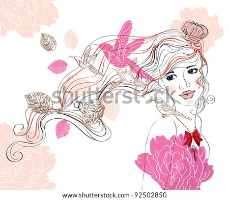 Beautiful hand drawing background with girl and flowers - stock photo