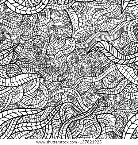 Beautiful hand drawn floral seamless pattern. Black and white variant. Raster version