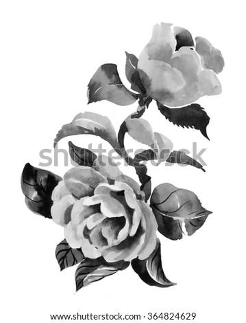 Beautiful hand-drawn monochrome flowers illustration - stock photo