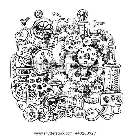 Beautiful hand drawn sketch steampunk mechanism. Time machine. Raster copy - stock photo
