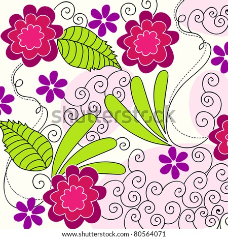 Beautiful hand drawn style summer floral background illustration