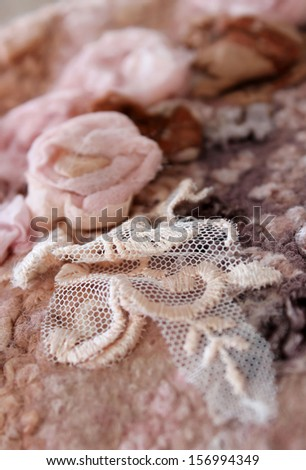 beautiful hand-made felt and silk texture - background  - stock photo