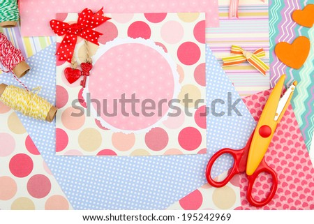 Beautiful hand made post card and scrapbooking elements - stock photo