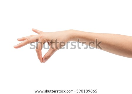 beautiful hand of a young woman  with fanned fingers as if holding something on white background