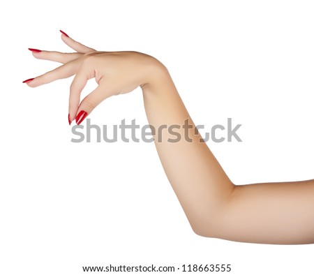 beautiful hand of a young woman with red manicure with fanned fingers as if holding something on white background - stock photo