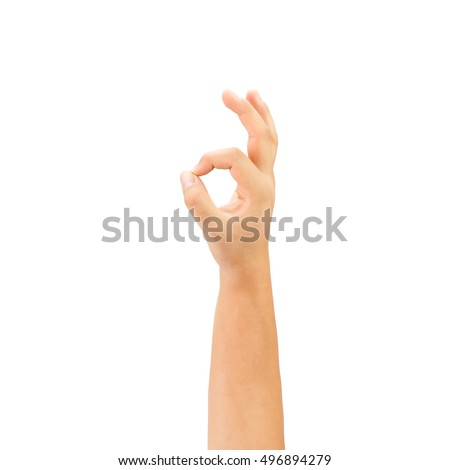 Beautiful  hand  okay isolated on white background