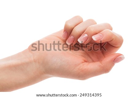 Beautiful hand with french manicure on white background - stock photo
