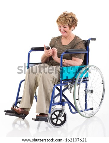 beautiful handicapped senior woman using smart phone on white background