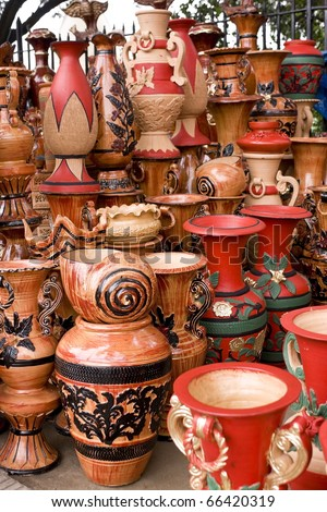 Beautiful handmade and hand-painted clay pots and jars in a roadside shop in Dhaka, Bangladesh - stock photo