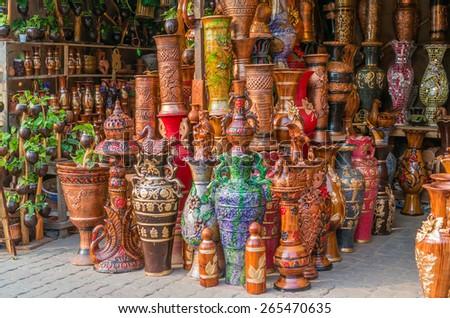 Beautiful handmade clay pots. - stock photo