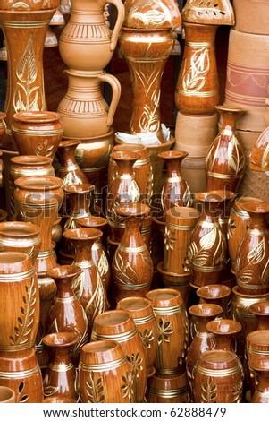 Beautiful handmade clay pots in a roadside market in Dhaka, Bangladesh - stock photo