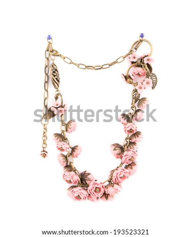 Beautiful handmade necklace. Isolated on a white background. - stock photo
