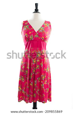 Beautiful, handmade pink floral designer gown on mannequin in studio, isolated on white background - stock photo