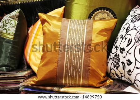 Beautiful handmade silk pillows from Thailand. - stock photo