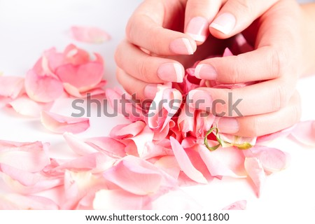 Beautiful hands with french manicure holding rose petals - stock photo
