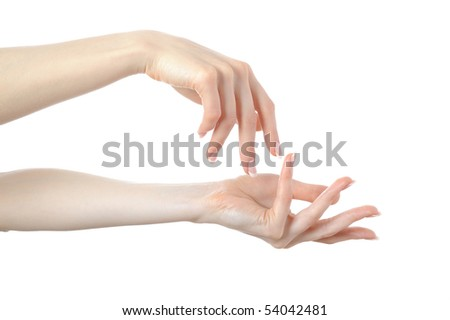 Beautiful hands with perfect nail french manicure. isolated on white background - stock photo