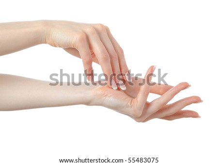Beautiful hands with perfect nail french manicure. isolated on white background