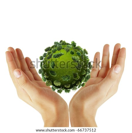 Beautiful hands with the world - stock photo