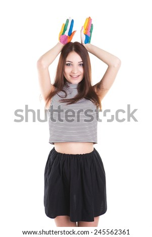 Beautiful happines girl with hands in the paint. Emotion, smilling. Isolated on the white background. - stock photo