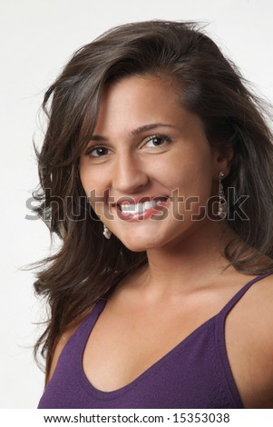 Beautiful happy attractive smiling young woman on white - stock photo