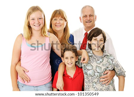 Beautiful happy blended family - father, mother, two boys, and a girl.  Boys belong to the dad, girl to the mom.   Full body isolated against a white background. - stock photo
