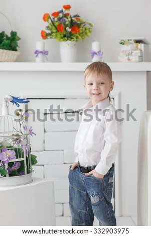 Beautiful happy blond boy at the cage with a fireplace settle in the Studio