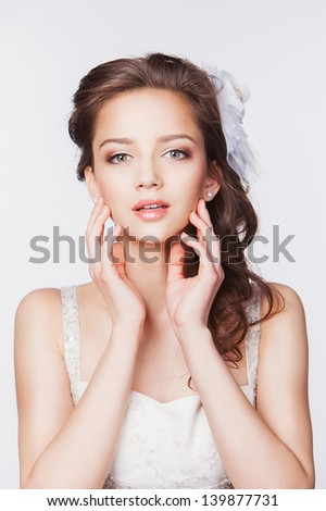 beautiful happy bride on white background - stock photo