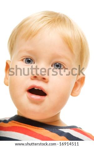 Beautiful happy child. Isolated on white background - stock photo