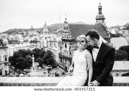 beautiful happy couple enjoying their time - stock photo