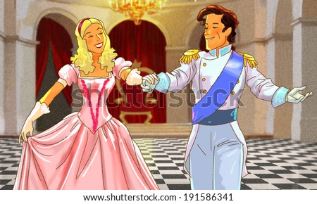 Beautiful happy couple is dancing in the hall - stock photo