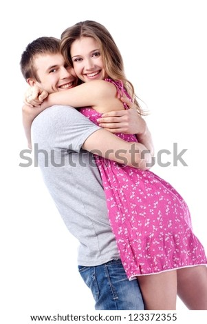 Beautiful happy couple. Valentine's day - stock photo