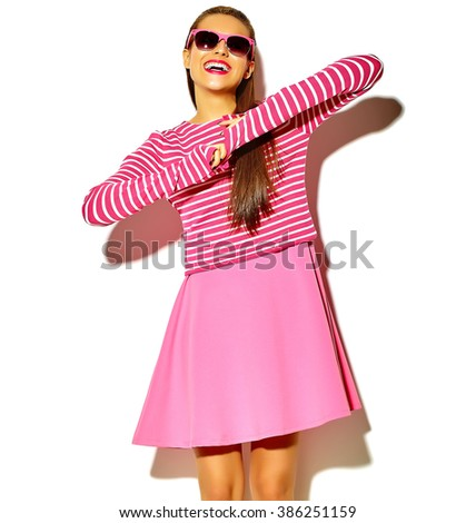 beautiful happy cute smiling brunette woman girl in casual colorful hipster summer pink clothes with red lips isolated on white in sunglasses  - stock photo