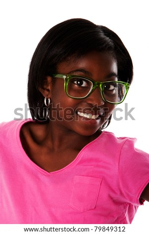 Beautiful happy face of a teenager girl with nerd glasses smiling, isolated.