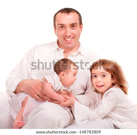 Beautiful happy family. Father and children- isolated over a white background