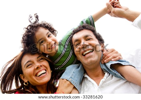 beautiful happy family having fun outdoors isolated - stock photo