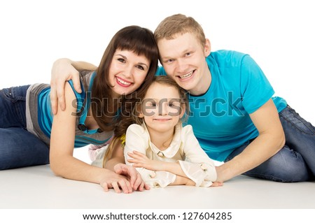 Beautiful happy family with little girl