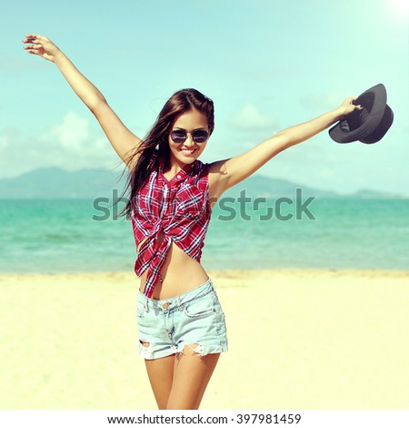 Beautiful happy girl portrait  - stock photo