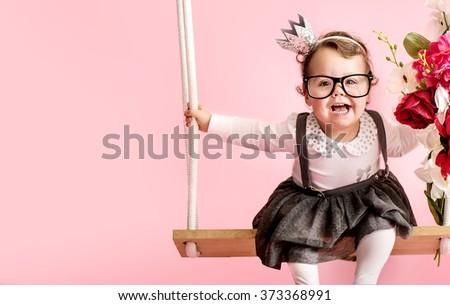 Beautiful happy little baby - stock photo