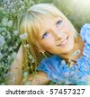 Beautiful Happy Little Girl outdoor - stock photo