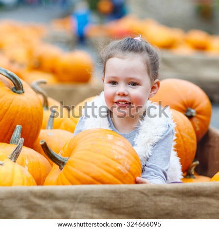 Beautiful happy little kid girl on a pumpkin farm with huge vegetables. Child celebrating traditional festival halloween or thanksgiving. - stock photo