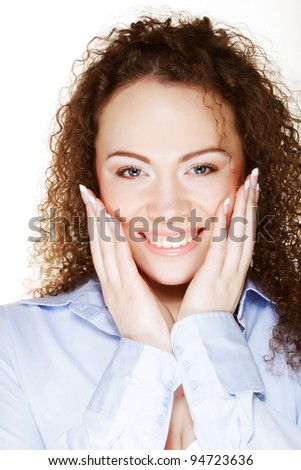 Beautiful happy portrait of an young adult woman - isolated on white - stock photo